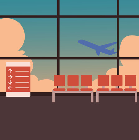 departing: Empty airport terminal interior with a view of airplane taking off against blue sky, cartoon vector illustration. Airport waiting room, lounge zone with airplane departing behind the glass wall