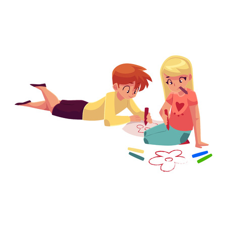 Boy and girl sitting on the floor, drawing car, flowers with crayons, cartoon vector illustration on white background. Little girl and boy drawing with pencils and crayons on the floor