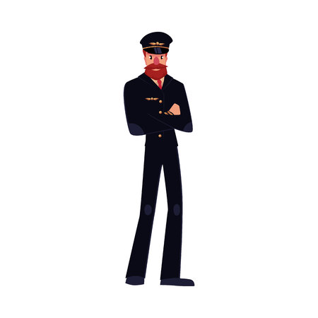 airline pilot: Full length portrait of serious civil airline pilot with beard and whiskers wearing black uniform, cartoon vector illustration isolated on white background. Hipster pilot wearing black uniform