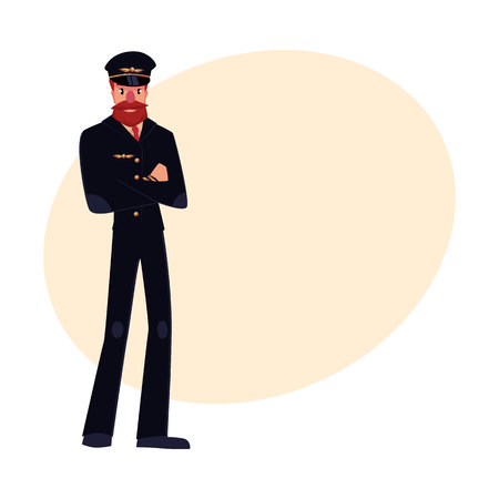 airline pilot: Full length portrait of serious civil airline pilot with beard and whiskers wearing black uniform, cartoon vector illustration on background with place for text. Hipster pilot wearing black uniform Illustration