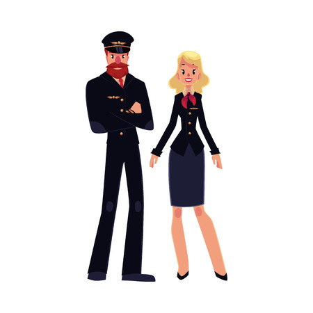 airline pilot: Full length portraits of cabin crew - bearded airline pilot and blond stewardess in black uniform, cartoon vector illustration isolated on white background. Pilot and stewardess standing together