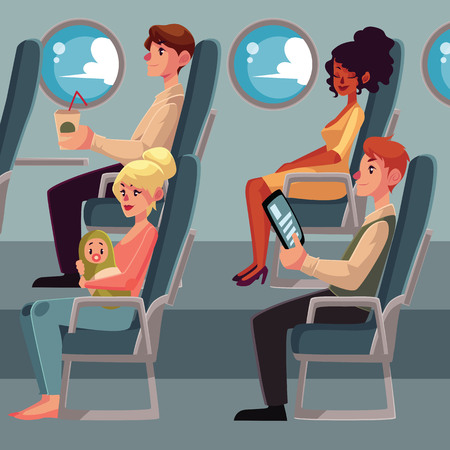 economy class: Set of airplane passenger in economy class - businessman, mother and baby, Caucasian man and African woman, cartoon vector illustration on white background. Passengers in airplane seats, economy class