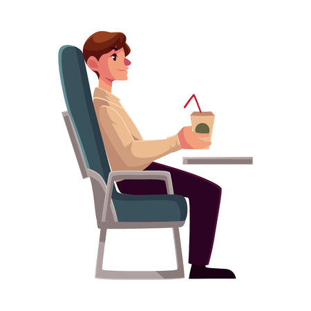 economy class: Young man seating in airplane, economy class, holding a drink, cartoon vector illustration on white background. Man seating in economy class, airplane passenger, holding a paper cup of coffee, drink