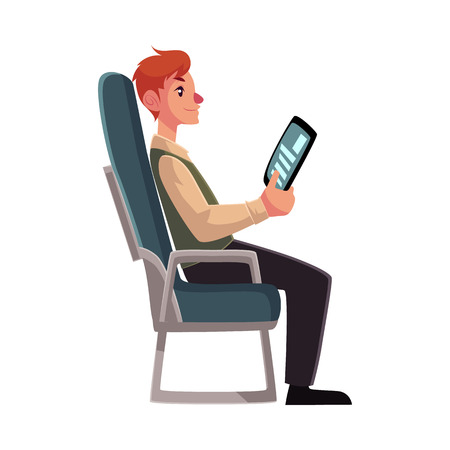 economy class: Young man seating in airplane, economy class, holding a tablet or e-book, cartoon vector illustration on white background. Man seating in economy class, airplane passenger, holding a tablet, side view Illustration