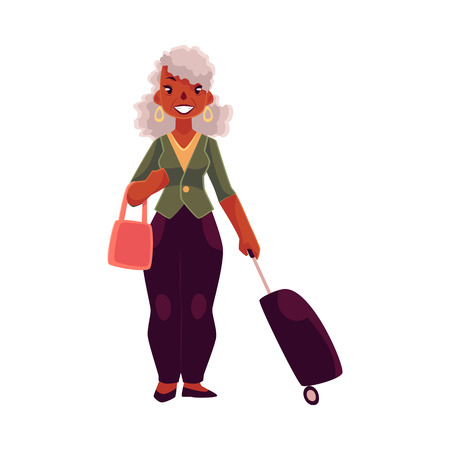 black american: Old, senior African American woman with suitcase and handbag, cartoon illustration isolated on white background. Full length portrait of beautiful old black lady with luggage, suitcase in airport