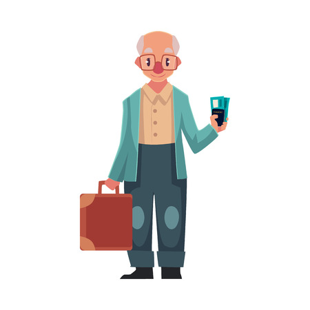 Old, senior, elder man in retro glasses holding suitcase and tickets in airport, cartoon illustration isolated on white background. Full length portrait of senior man travelling with old suitcase