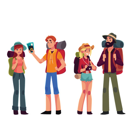 departing: Set of young male and female travelers with backpacks, cartoon illustration isolated on white background. Boyes and girls traveling with backpacks, backpackers in airport, arriving or departing