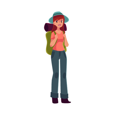 arriving: Young pretty girl travelling, hitch hiking with backpack, cartoon illustration isolated on white background. Woman, girl, backpacker, hitchhiker with a backpack and sleeping bag, arriving or departing