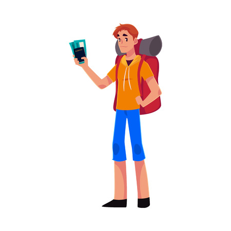 sleeping bags: Young traveler, backpacker, hitchhiker standing and holding tickets and passport, cartoon illustration isolated on white background. Young man with backpack, passport and tickets ready for flight