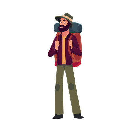 sleeping bags: Traveler, backpacker, hitchhiker, geologist or archeologist with backpack, cartoon illustration isolated on white background. Young man with backpack going to travel, hiking, expedition