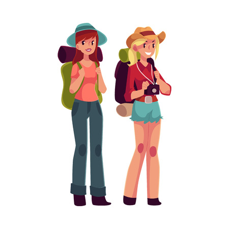 Two pretty girls travelling, hitchhiking with backpacks and camera, cartoon illustration isolated on white background. Female backpackers, hitchhikers, friends travelling with backpacks and camera