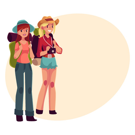 sleeping bags: Two pretty girls travelling, hitchhiking with backpacks and camera, cartoon illustration on background with place for text. Female backpackers, hitchhikers, friends travelling with backpacks