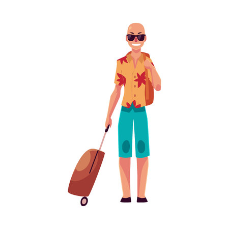 Young bald man in sunglasses, aloha shirt and shorts with a suitcase, cartoon illustration isolated on white background. Airplane passenger with a suitcase, going to, from vacation Illustration