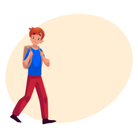 lad: School boy, teenager walking, going somewhere with backpack, cartoon illustration isolated on background with place for text. Schoolboy, boy, teenager, lad going to school with a backpack