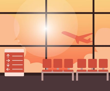departing: Empty airport terminal interior with a view of airplane taking off against orange sky, cartoon vector illustration. Airport waiting room, lounge zone with airplane departing behind the glass wall Illustration