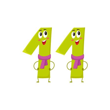 Carino e divertente 11 caratteri numerici, illustrazione vettoriale di cartone animato isolato su sfondo bianco. Undici personaggi sorridenti, saluti di compleanno, anniversario
