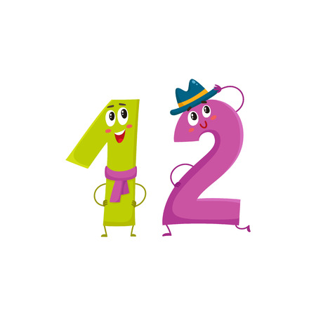 number 12: Cute and funny colorful 12 number characters, cartoon vector illustration isolated on white background. twelve smiling characters, birthday greetings, anniversary