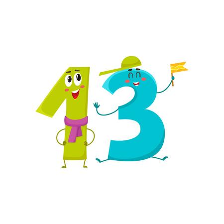 Caratteri di numero 13 variopinti svegli e divertenti, illustrazione di vettore del fumetto isolata su fondo bianco. tredici personaggi sorridenti, auguri di compleanno, anniversario