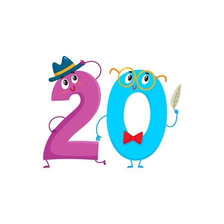 Caratteri variopinti variopinti di numero 20 svegli e divertenti, illustrazione di vettore del fumetto isolata su fondo bianco. venti personaggi sorridenti, auguri di compleanno, anniversario