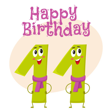 Happy Birthday Vector Greeting Card, Poster, Banner Design With Cute And  Funny Eleven Number