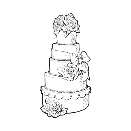 tiers: Traditional white tiered wedding cake decorated with marzipan roses, sketch style illustration isolated on white background. Layered wedding cake with five tiers, white icing and roses