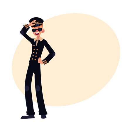 airline pilot: Full length portrait of young civil airline pilot in black uniform and sunglasses, cartoon vector illustration on background with place for text. Young and happy civilian pilot wearing black uniform Illustration