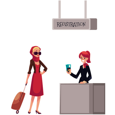 waiting line: Line to airport check-in, passenger and baggage registration desk, cartoon vector illustration isolated on white background. girl waiting for check in, luggage drop, baggage registration in airport