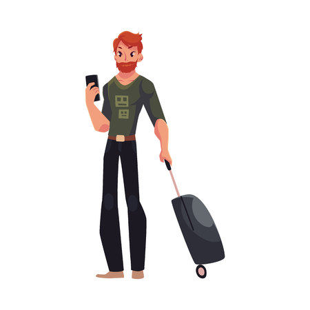 Young man with suitcases and phone in jeans and t-shirt, cartoon illustration isolated on white background. Airplane passenger with suitcases, going to, from vacation