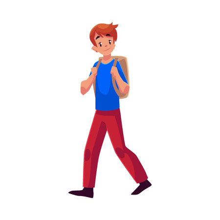 School boy, teenager walking, going somewhere with backpack, cartoon illustration isolated on white background. Schoolboy, boy, teenager, lad going to school with a backpack Illustration