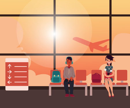 departing: People waiting for flight in airport terminal with airplane taking off against sunset sky, cartoon vector illustration. People in airport lounge zone with airplane departing behind the glass wall Illustration
