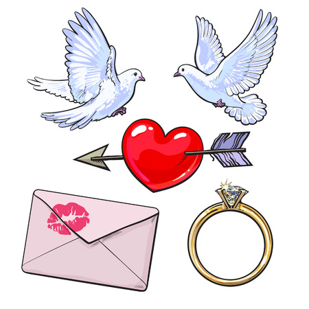Wedding, engagement icon set with doves, arrow pierced heart, golden ring and love letter, sketch style vector illustration isolated on white background. Wedding attributes - doves, ring, heart, kiss Illustration