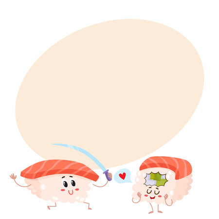 sashimi: Two happy salmon, tuna sushi characters having fun, cartoon vector illustration on background with place for text. Cute and funny salmon, tuna sushi, sashimi, roll characters, asian cuisine