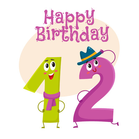 number twelve: Happy birthday vector greeting card, poster, banner design with cute and funny twelve number characters. twelve smiling characters, happy birthday greeting card template