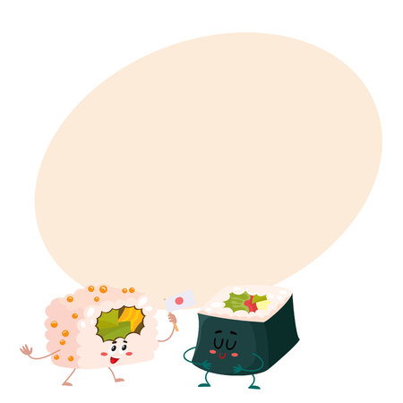 spicy mascot: Two cute and funny Japanese nori, seaweed roll characters, cartoon vector illustration on background with place for text. Couple of smiling seaweed, nori roll characters, Asian cuisine