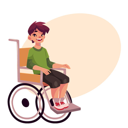 Student Life: Portrait of happy school kid sitting in wheelchair,cartoon vector illustration on background with place for text. Disabled teenaged boy sitting in wheelchair, living with disability concept Illustration