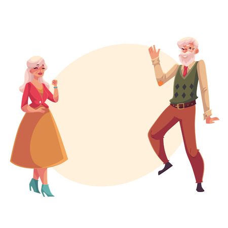 Old, senior couple dancing together, cartoon style vector illustration isolated on yellow background with place for text. Full height portrait of old lady and gentleman dancing romantically Иллюстрация