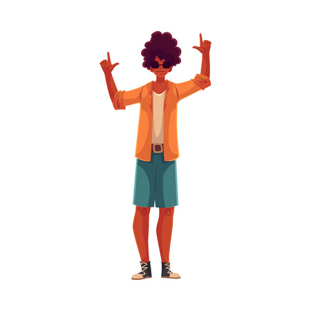 Young African American Mann tanzen, Cartoon-Stil Vektor-Illustration auf weißem Hintergrund. Junge und schöne schwarze Mann, Teenager, Junge tanzen auf einer Party in Rock und T-Shirt
