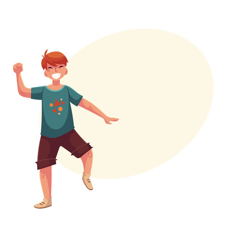 Full length portrait of teenaged red haired boy in shorts and t-shirt dancing, cartoon style vector illustration isolated on yellow background with place for text. Smiling boy dancing excitedly