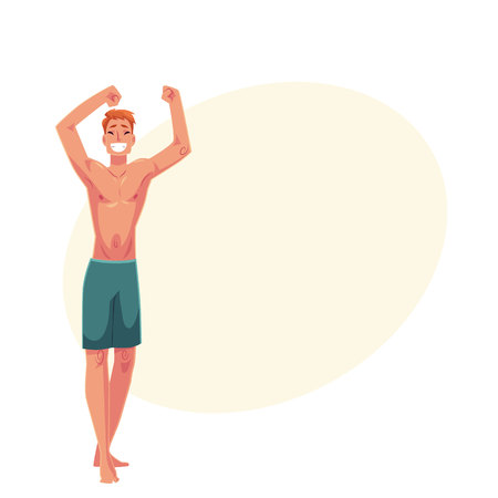 Young red haired athletic man in swimming shorts dancing, cartoon style vector illustration isolated on yellow background with place for text. Young and handsome red haired man dancing Illustration