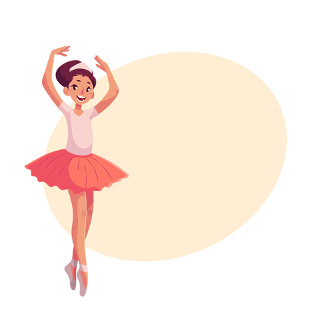 Little ballerina in pink tutu standing on toes, cartoon style vector illustration on yellow background with place for text. Little ballet dancer in pink tutu, classical, sixth position, toe stand