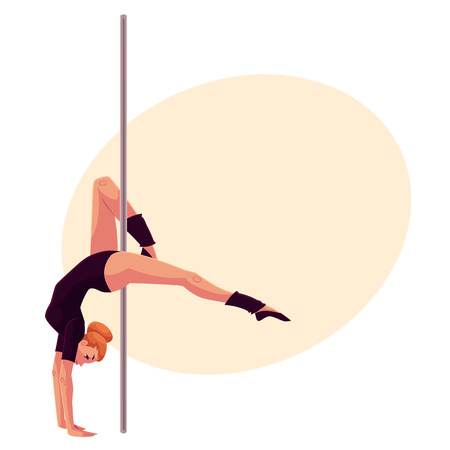 pole dancer: Young pole dance woman in black leotard doing hand stand, cartoon style vector illustration on yellow background, place for text. Young, slim and beautiful pole dancer standing on hands Illustration