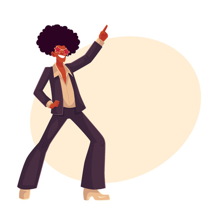 wig: Man in afro wig and 1970s style clothes dancing disco, cartoon style vector illustration on background with place for text. Young man in star sunglasses and afro wig dancing at retro disco party