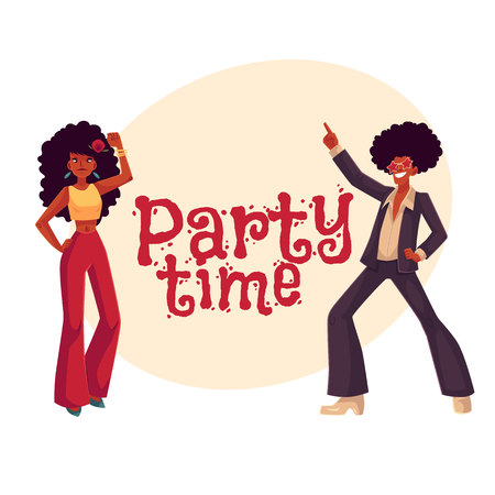 Man and woman with afro hair and 1970s style clothes dancing disco, cartoon style invitation, greeting card design. Party invitation, advertisement, Young man and woman in flares with african black Illustration