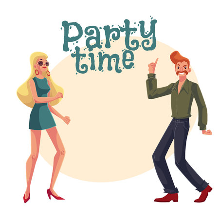 party cartoon: Red haired man and blond woman 1970s style clothes dancing disco, cartoon style invitation, greeting card design. Party invitation, advertisement, Man with beehive and girl in short 1960s dress