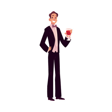 smocking: Man in 1920s style smoking and bow tie at a vintage party, cartoon style vector illustration isolated on white background. Young man in stylish black vintage suit holding a glass of wine Illustration