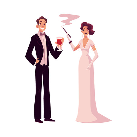 Man and woman in 1920s style clothes at a vintage party, cartoon style vector illustration isolated on white background. Man in black smoking and woman in pink vintage dress and mantel