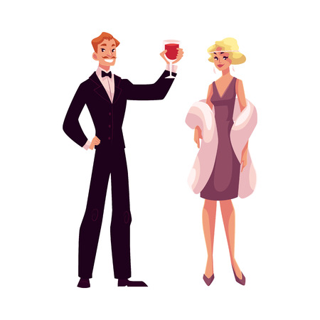 smocking: Man and woman in 1920s style clothes at a vintage party, cartoon style vector illustration isolated on white background. Man in black smoking and woman in pink vintage dress and mantel