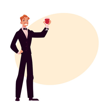 smocking: Man in 1920s style smoking and bow tie at a vintage party, cartoon style vector illustration on background with place for text. Young man in stylish black vintage suit holding a glass of wine