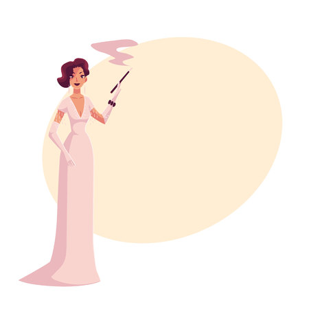 Woman in 1920s evening dress and gloves with a cigarette holder, cartoon vector illustration on background with place for text. Beautiful blond woman in evening gown at a vintage party Illustration