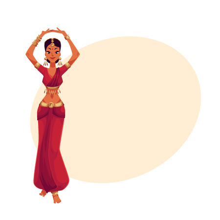 Indian female dancer in traditional costume, cartoon vector illustration on background with place for text. Traditional Indian female dancer in sari, national costume, Bollywood performer